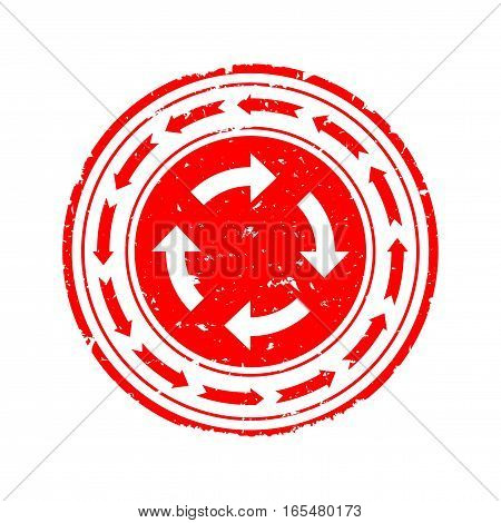 Scratched red round stamp with two circles with arrows - vector