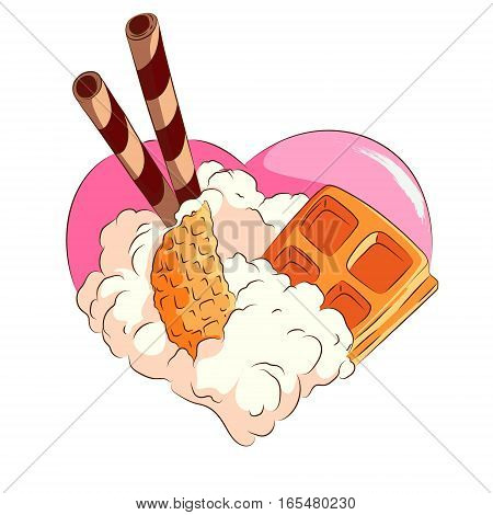 Isolated image of a heart made of candy in a cartoon style dessert heart.