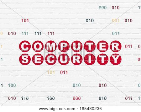 Protection concept: Painted red text Computer Security on White Brick wall background with Binary Code