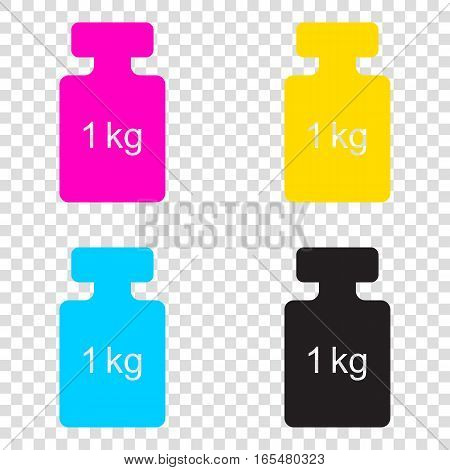 Weight Simple Sign. Cmyk Icons On Transparent Background. Cyan,