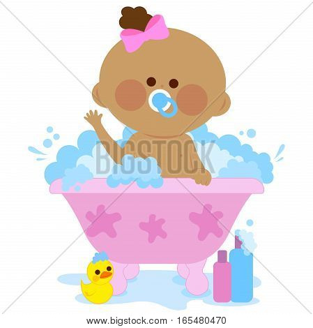 Vector illustration of a cute baby girl in a bath tub taking a bubble bath.