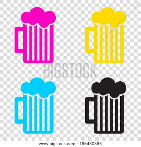 Glass Of Beer Sign. Cmyk Icons On Transparent Background. Cyan,