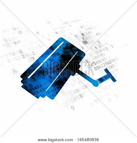 Privacy concept: Pixelated blue Cctv Camera icon on Digital background