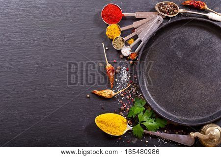 Food Ingredients For Cooking With Empty Pan