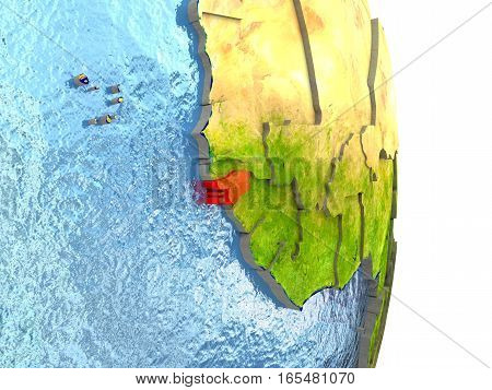 Guinea-bissau In Red On Earth