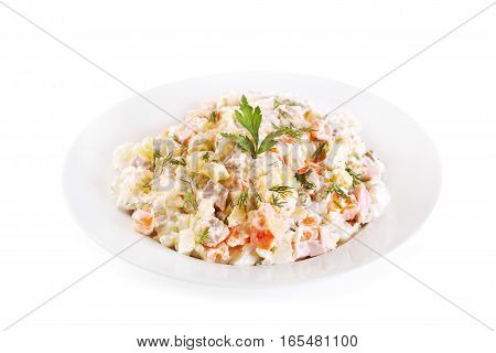Plate Of Traditional Russian Salad Olivier