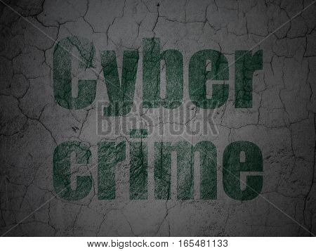 Privacy concept: Green Cyber Crime on grunge textured concrete wall background