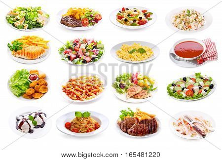 Set Of Various Plates Of Food
