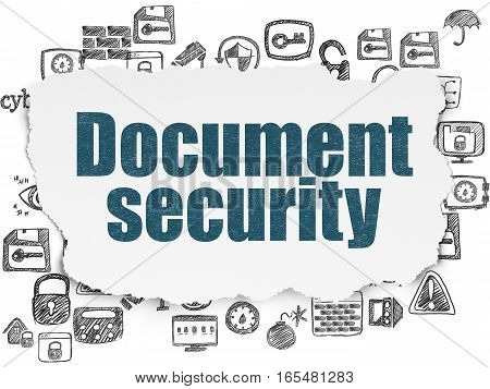 Security concept: Painted blue text Document Security on Torn Paper background with  Hand Drawn Security Icons
