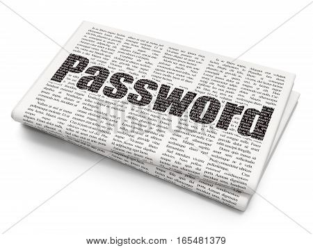 Security concept: Pixelated black text Password on Newspaper background, 3D rendering