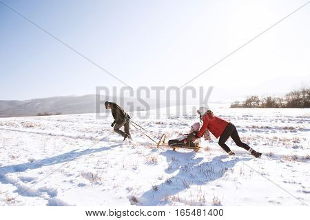 Mother pushing daughter on sledge, father pulling her. Beautiful family in sunny winter nature.