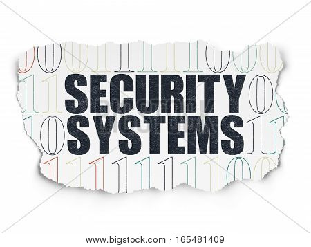 Safety concept: Painted black text Security Systems on Torn Paper background with  Binary Code