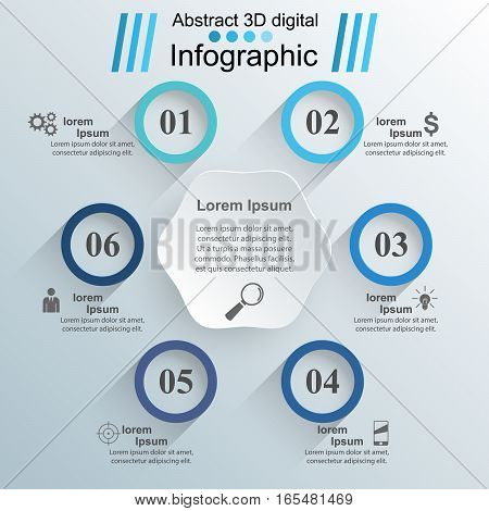 Business Infographics origami style Vector illustration on the grey background