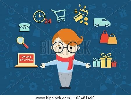 Flat design vector illustration of young man shows process of online shopping