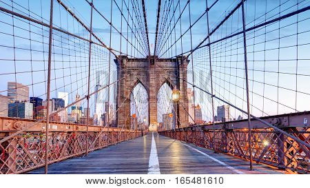 Brooklyn Bridge in New York City at day, nobody