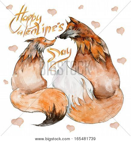 """Couple of foxes in love on white background with hearts and the sign """"Happy Valentine's day"""". Watercolor painting. Hand drown. Square. Can be used for greeting card children's book illustration."""