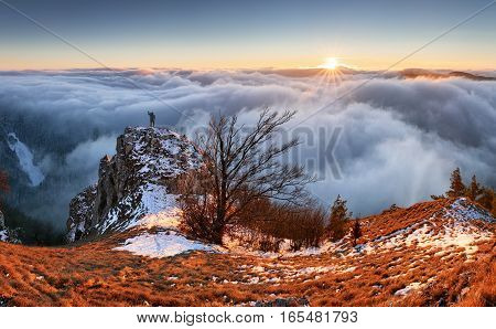 Countryside with forest and hill at fall Slovakia peak Vapec