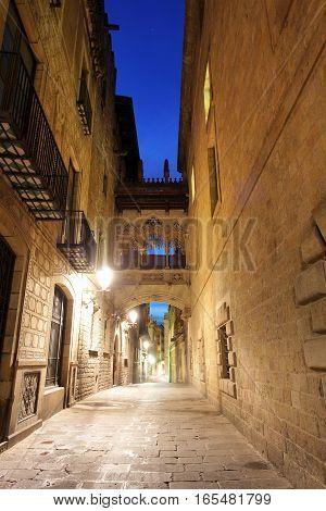 Barcelona Gothic quarter Carrer del Bisbe, Spain