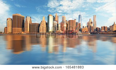 New York skyline USA at a day