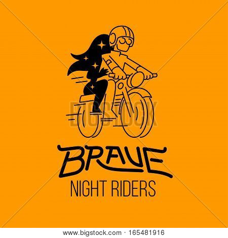 brave night riders, man and woman on motorbike, isolated vector illustration.