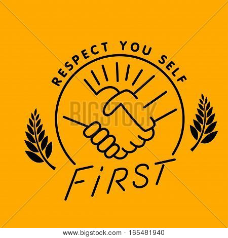 respect handshake logo, thin line style vector illustration design