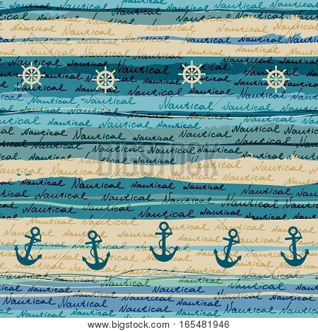Seamless background pattern. Pattern in nautical style with a lettering