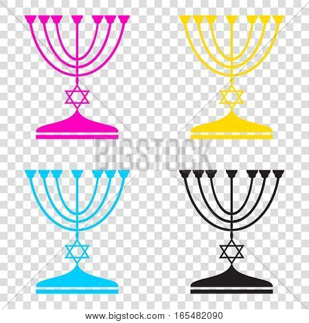 Jewish Menorah Candlestick In Black Silhouette. Cmyk Icons On Tr