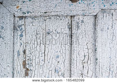 old wood frame with destroyed surface white paint