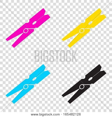 Clothes Peg Sign. Cmyk Icons On Transparent Background. Cyan, Ma