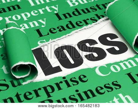 Finance concept: black text Loss under the curled piece of Green torn paper with  Tag Cloud, 3D rendering