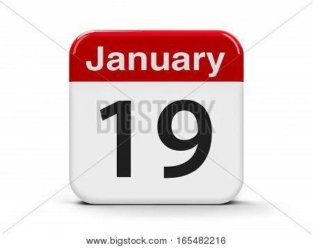 Calendar web button - The Nineteenth of January three-dimensional rendering 3D illustration