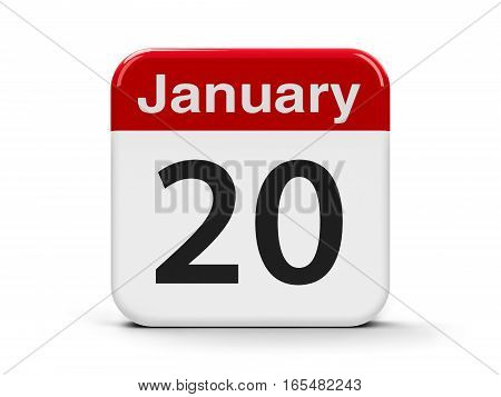 Calendar web button - The Twentieth of January three-dimensional rendering 3D illustration