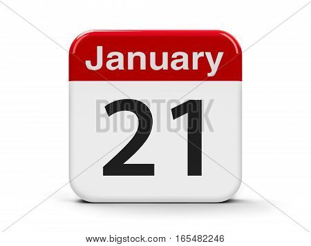 Calendar web button - The Twenty First of January - International Hug Day three-dimensional rendering 3D illustration