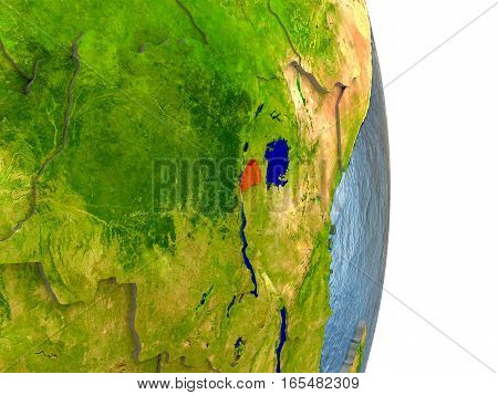 Rwanda In Red On Earth