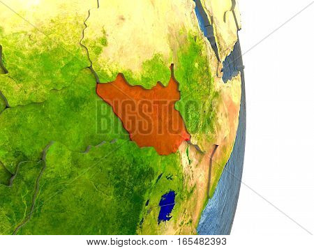 South Sudan In Red On Earth