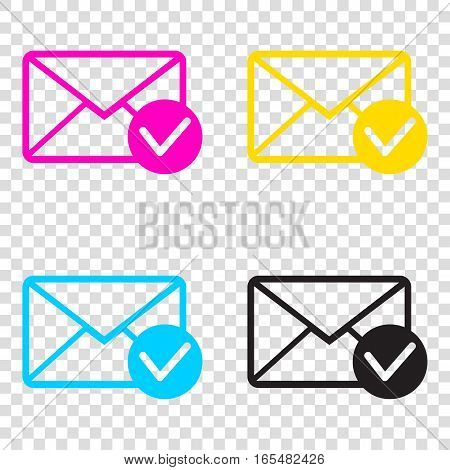 Mail Sign Illustration With Allow Mark. Cmyk Icons On Transparen