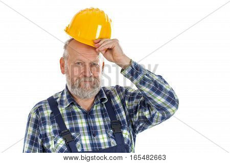 Picture of a confident engineer posing on an isolated background