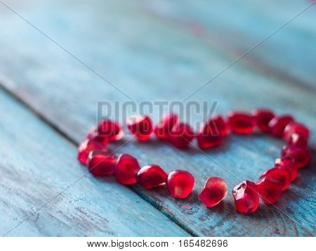 Heart, made, pomegranate, seeds., Valentines, mothers, day, background