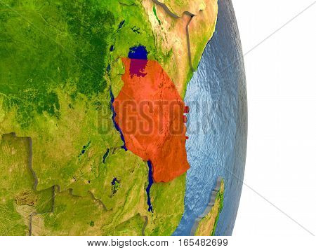 Tanzania In Red On Earth