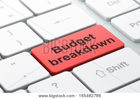 Finance concept: computer keyboard with word Budget Breakdown, selected focus on enter button background, 3D rendering