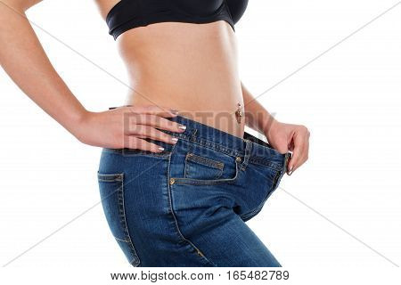 Close up picture of a young woman's body after weightloss
