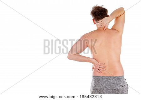 Picture of a young man's back having a serious pain