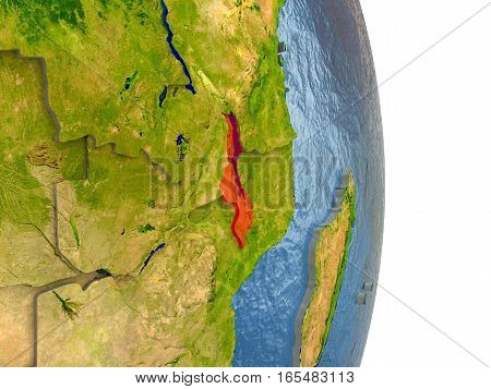 Malawi In Red On Earth