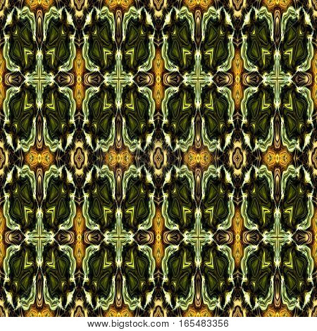 Computer generated illustration with multicolour abstract green  kaleidoscopic pattern.