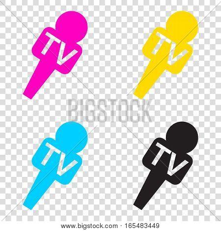 Tv Microphone Sign Illustration. Cmyk Icons On Transparent Backg