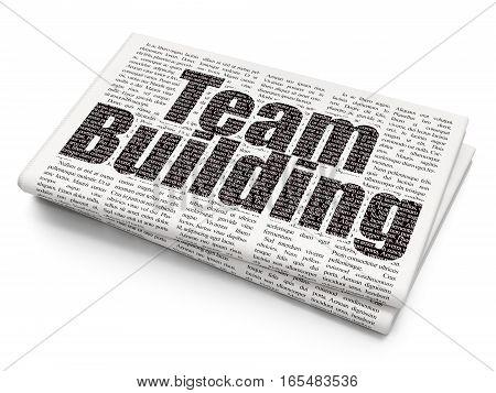Finance concept: Pixelated black text Team Building on Newspaper background, 3D rendering