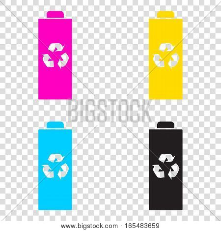 Battery Recycle Sign Illustration. Cmyk Icons On Transparent Bac