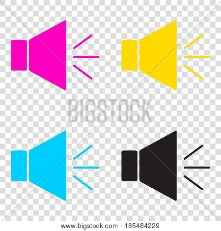 Sound Sign Illustration With Mute Mark. Cmyk Icons On Transparen