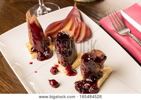 Deer Steak With Fruit Jam And Wine