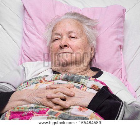 Old Sick Pensive Woman